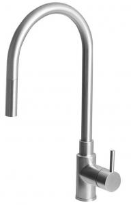 DUNA mosogató csaptelepe kihúzható fejjel, inox (DU015)