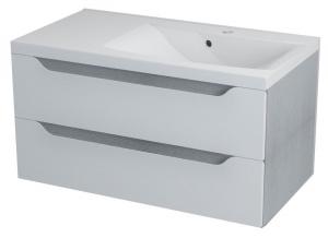 WAVE II mosdótartó szekrény, 2 fiókkal, pipererendezővel, jobbos, 90x45x48cm, fehér/ezüst tölgy