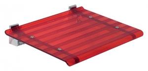 LEO lehajtható ülőke zuhanyzóba, 40x31cm, piros