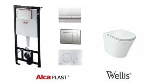 AlcaPlast / Wellis CLEMENT Rimless wc szett, nyomólap nélkül