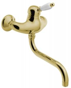 KIRKÉ fali mosogató csaptelep, fehér karral, arany (KI15BZ)