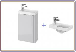Cersanit Moduo 40x22 cm-es alsószekrény mosdóval, fehér / szürke színben