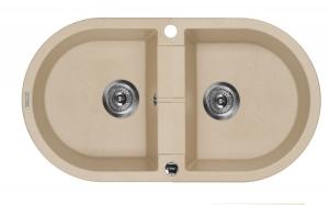 Piva 2 medencés kerek mosogató csepegtető nélkül - homok ZQI 720B