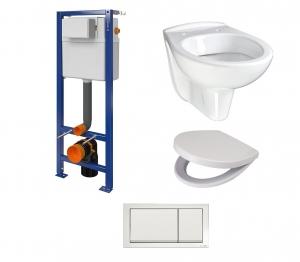 Cersanit fali WC szett. AQUA 02 Tartály+fehér nyomólap K97-365 + DELFI fali WC + lecsapódásgátlós ülőke