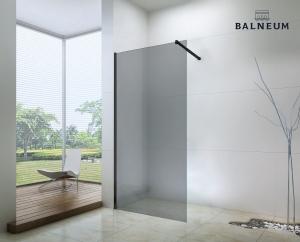 Balneum Walk-In zuhanyfal fekete profillal füst üveggel 70