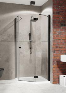 Radaway Essenza New Black PTJ aszimmetrikus zuhanykabin, Balos-80x90 cm