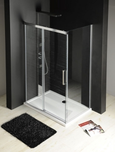 Fondura zuhanykabin átlátszó üveggel egy tolóajtó + egy fix fal