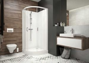 Kpl-KCKP4/BASIC S zárt zuhanykabin szett, Fehér hátfallal (tolóajtós)