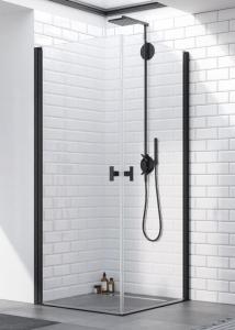 Radaway-Nes Black KDD I szögletes dupla nyílóajtós, fekete zuhanykabin, több méretben