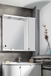 PULSE tükrösszekrény, LED világítással, 75x80x17cm, fehér/antracit
