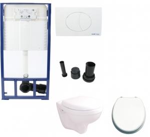 Sanotechnik BASIC wc szett. Tartály, nyomólap, wc, ülőke