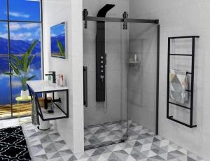 Sapho GELCO VOLCANO eltolható ajtó, transparent/matt fekete
