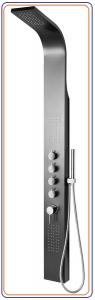 MESA zuhanypanel lakkozott alumínium, karos csaptelep, oldalfúvókák, kézizuhany, 150x1680mm, matt fekete (WN853)