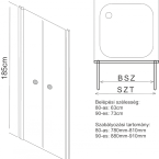 Aqualife HX-109T 2 ajtós zuhanyajtó