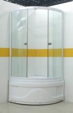 Sanotechnik Íves sarokkabin 2 tolóajtóval, fehér 90-es víztiszta üveggel ülőtálcához