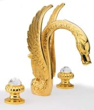 CRYSTAL Mosdó csaptelep, három részes, automata lefolyóval, arany (23037DS)