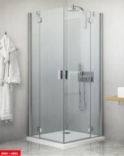 Roltechnik HBO1+HBO1 szögletes zuhanykabin, kétszárnyú nyíló ajtóval