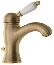 KIRKÉ mosdó csaptelep, lefolyóval, fehér karral, bronz (KI02BB)