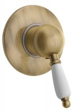 KIRKÉ falbaépíthető csaptelep, 1 irányú, fehér karral, bronz (KI41BB)