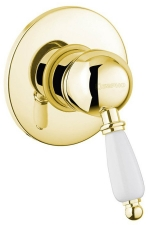 KIRKÉ falbaépíthető csaptelep, 1 irányú, fehér karral, arany (KI41BZ)