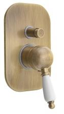 KIRKÉ falbaépíthető csaptelep, 2 irányú, fehér karral, bronz (KI42BB)