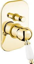 KIRKÉ falbaépíthető csaptelep, 2 irányú, fehér karral, arany (KI42BZ)