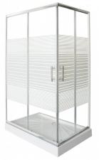 Sanotechnik króm aszimmetrikus sarok zuhanykabin , zuhanytálcával