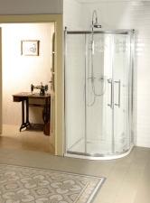 Gelco Antique íves zuhanykabin eltolható kétszárnyú ajtóval, króm profillal