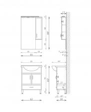 Bianka 65 alsó szekrény + mosdótál