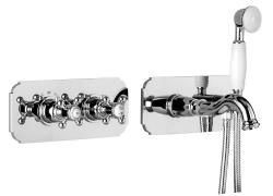 ALPI LONDON rejtett zuhanycsaptelep vízkivezetéssel és kézizuhannyal, 2 funkciós, króm (LO41L163VD)