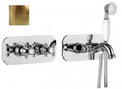 ALPI LONDON rejtett zuhanycsaptelep vízkivezetéssel és kézizuhannyal, 2 funkciós, bronz (LO41L163VDBR)