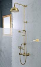 ALPI LONDON Zuhanyoszlop termosztatikus csapteleppel, fej- és kézizuhannyal,szappantartóval, bronz (LO41RM2150BR)