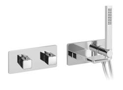 NABOO Falba süllyesztett termosztatikus kádtöltő csaptelep, két irányú váltóval,zuhanyszettel, króm (NA79L163VD)