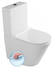 Sapho PACO WC RIMLESS kombi alsó/hátsó kifolyású, ülőkével (Soft Close), tartállyal, króm, duálgombos öblít (PC1012R)