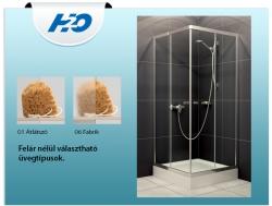 H2O Projecta szögletes zuhanykabin