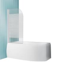 Sanipro Screen kádparaván fehér profillal átlátszó mintás üveggel