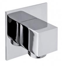 Zuhanycsatlakozó, szögletes, króm (SG302)