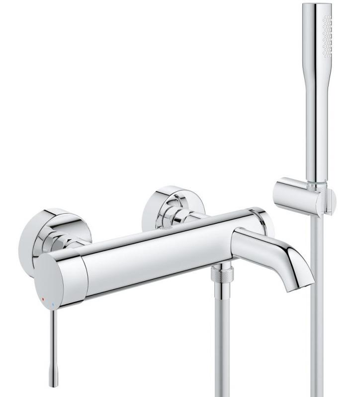 Grohe Essence egykaros kádtöltő és zuhanycsap fix falitartós zuhany garnitúrával, komplett