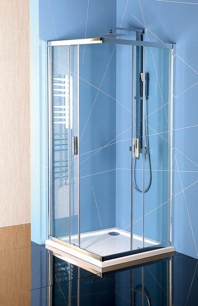 Polysan Easy Line szögletes tolóajtós zuhanykabin átlátszó üveggel