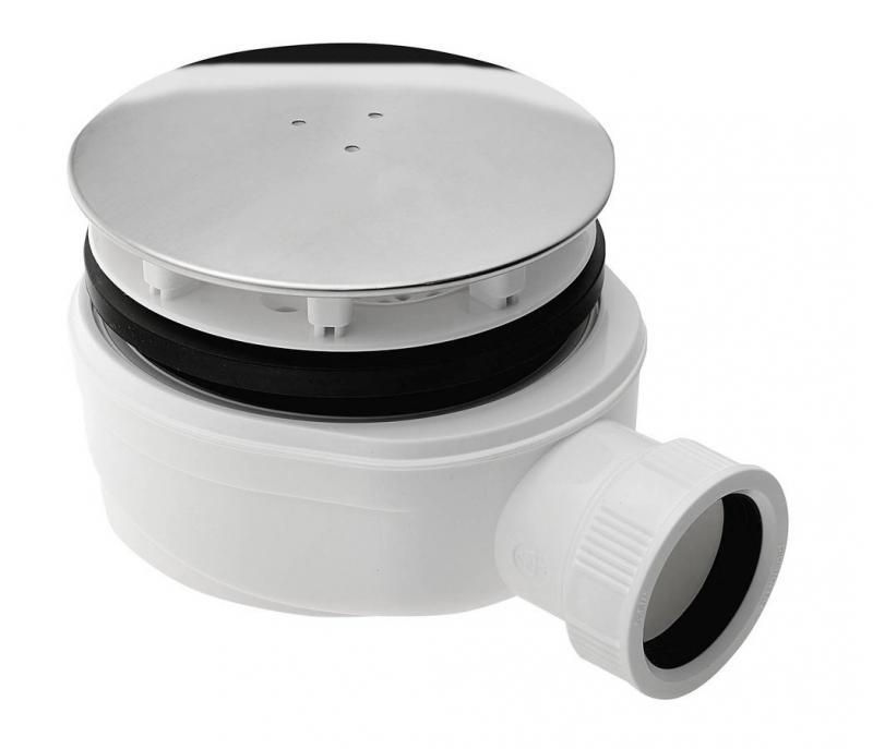 Zuhanytálca szifon 90mm bekötése 40 mm, extra alacsony, magasság 51mm, fedél: polírozottinox (SE940)